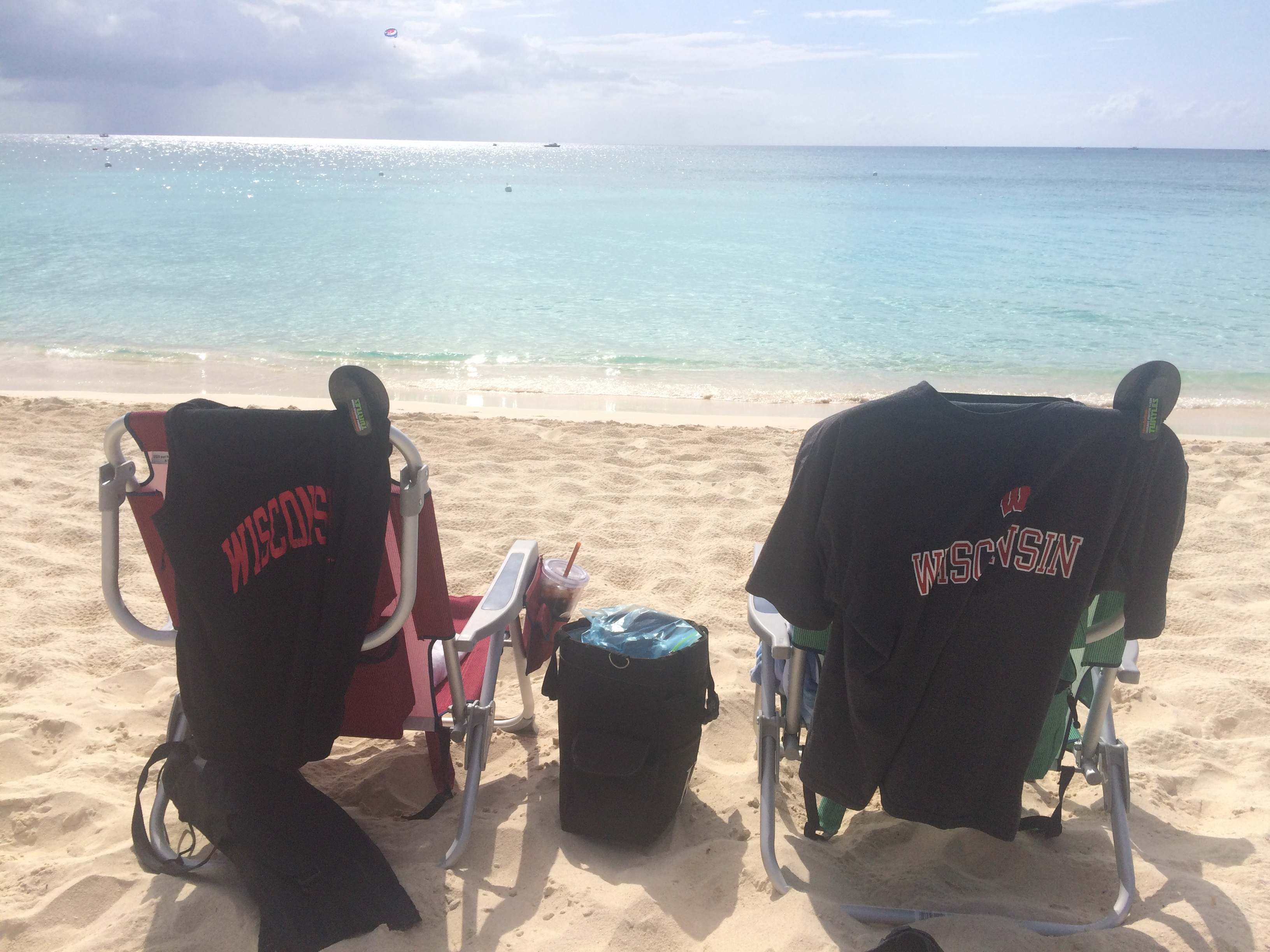 Pat & Sharry's beach chairs with Badgers t-shirts before the Final Four 2015